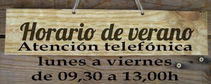 HORARIO DE VERANO DE 09,30 A 12,45 de lunes a viernes.
